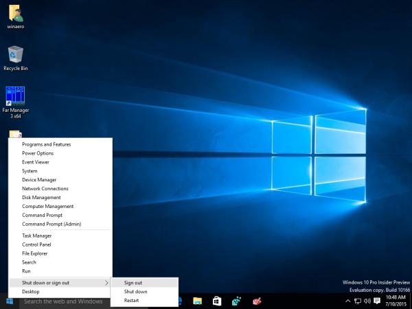 02 Windows 10 Win X sign out