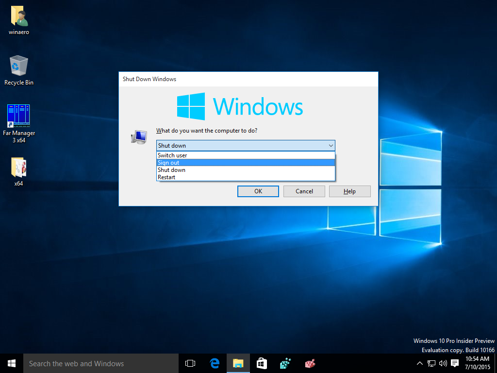 All ways to sign out from windows 10 for Window opens off screen