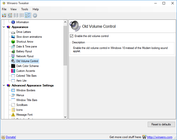 Enable Old Classic Volume Control in Windows 10