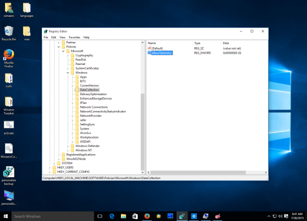 Windows 10 AllowTelemetry registry key