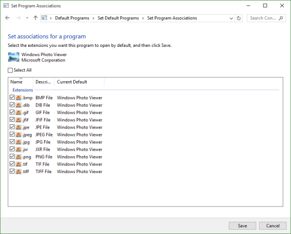 Windows 10 Set Program Associations