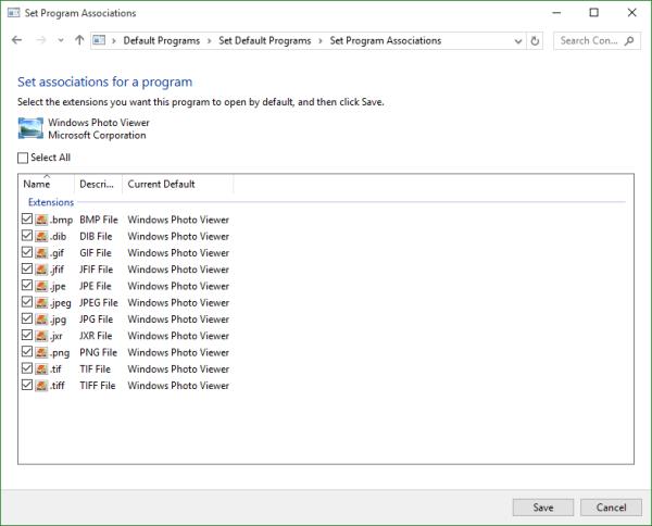 Windows 10 Set Program Associations