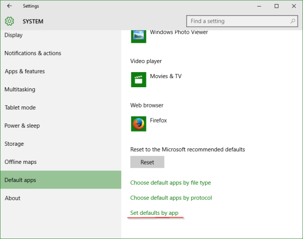 Windows 10 Settings set defaults by app