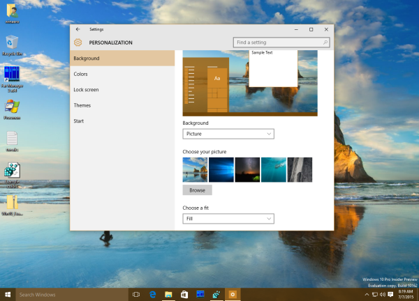 Windows 10 auto color on the taskbar sample1
