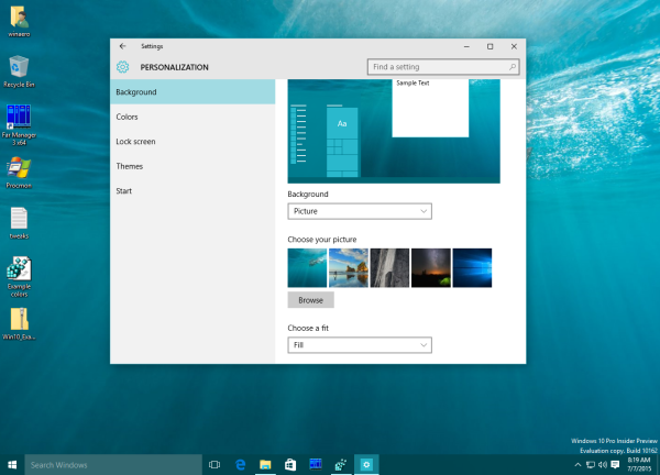 Windows 10 auto color on the taskbar sample2