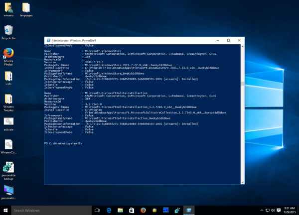 Windows 10 bundled apps output