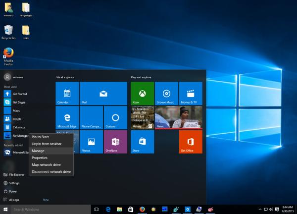 Windows 10 computer management context menu