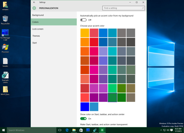 Windows 10 custom color on the taskbar