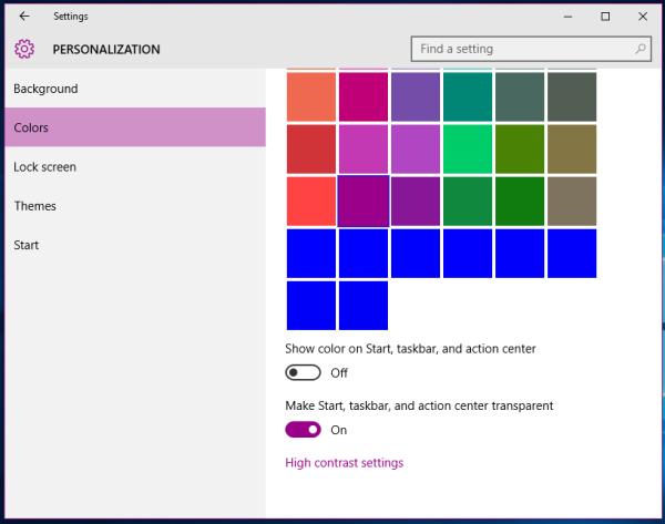 Windows 10 custom colors all blue