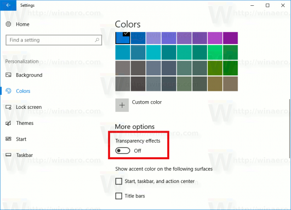 Windows 10 Disable Taskbar Transparency