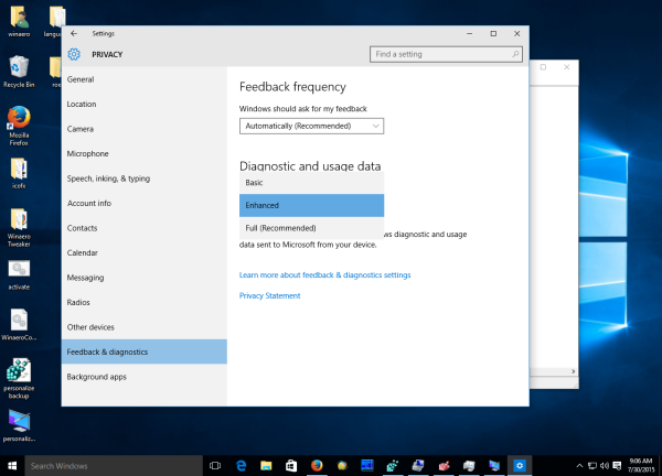 Windows 10 feedback options