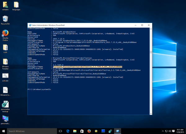 Windows 10 packagefullname