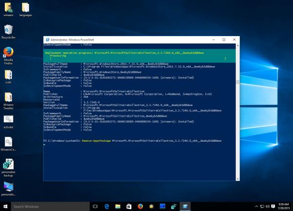 Windows 10 remove app