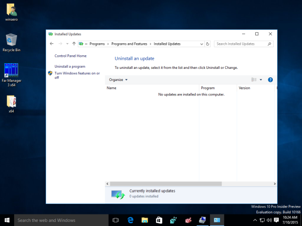 Windows 10 view installed updates