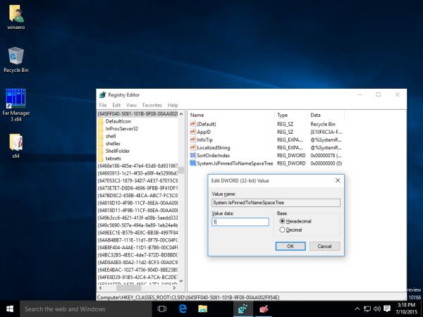 windows 10 add recycle bin to navigation pane tweak