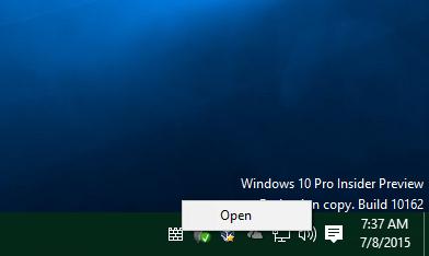 windows 10 defender tray icon context menu