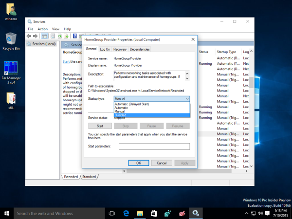 windows 10 disable home group