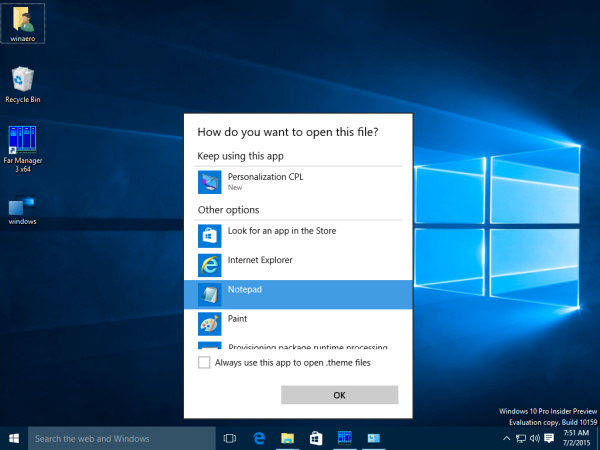 windows 10 windows theme open with notepad