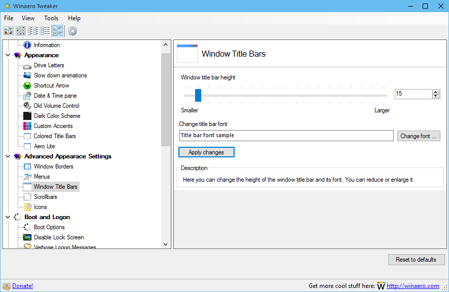 Windows 10 - get smaller window titlebar and reduce window