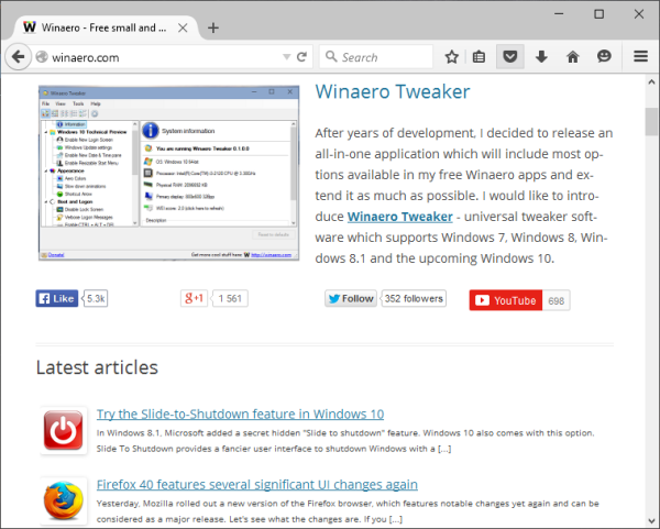 Firefox 40 default