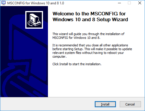 MSCONFIG for Windows 10 and 8 setup wizard