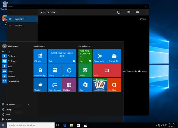 Photos apps running under Windows 10 administrator