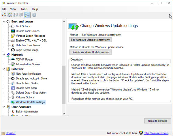 Winaero Tweaker disable windows update in Windows 10