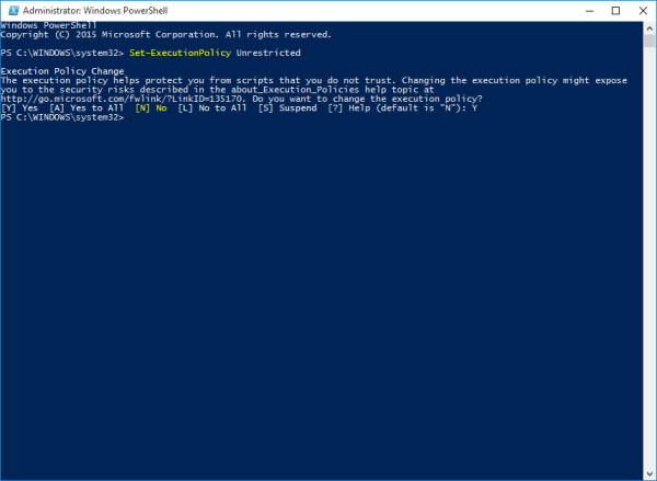 Windows 10 PowerShell execution policy unrestricted
