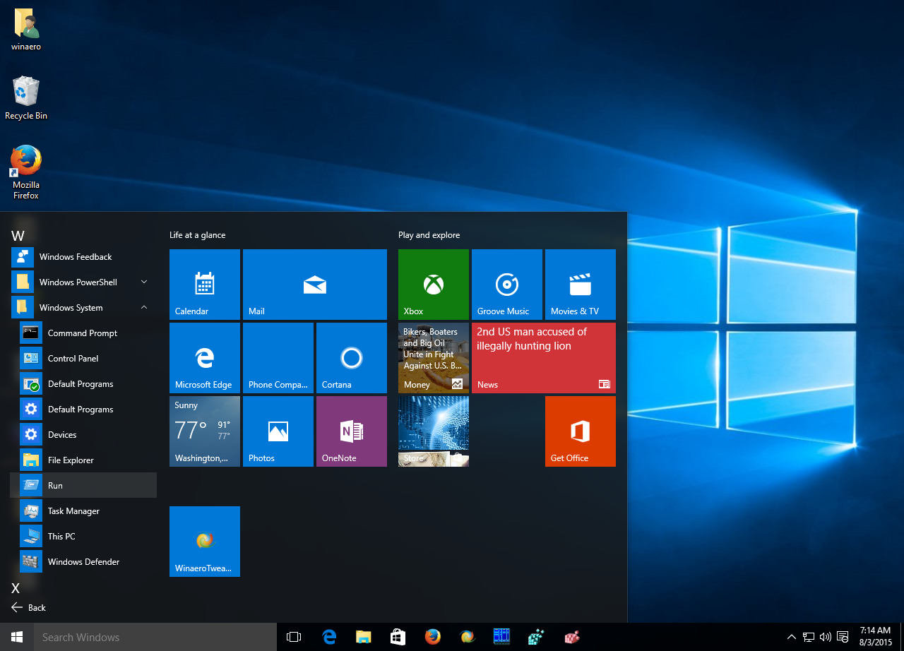 Add Run to Start menu in Windows 10 RTM