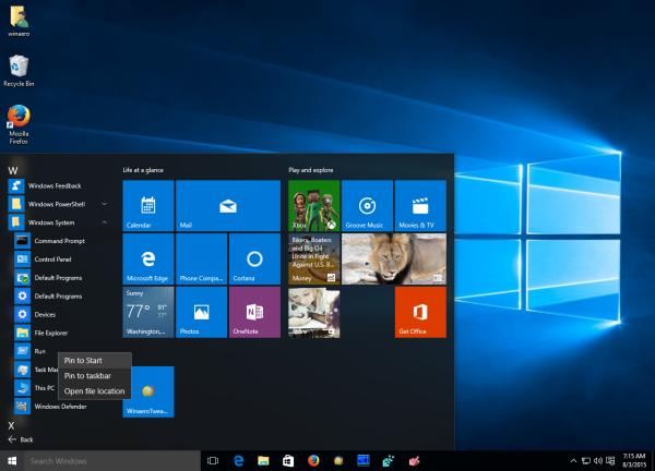 Windows 10 Run pin to start