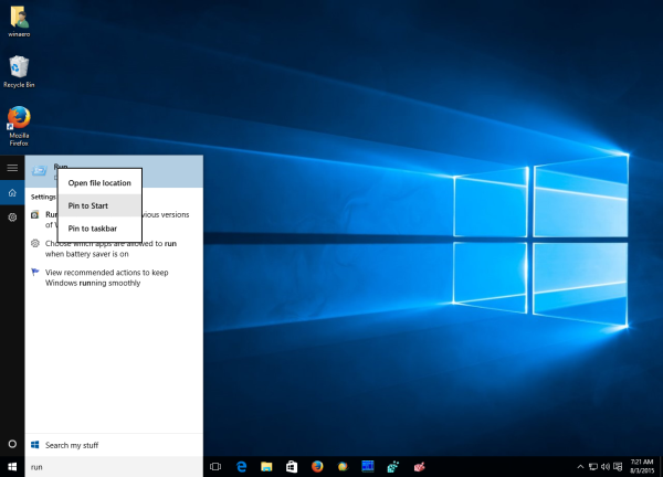 Windows 10 Run pin to start from search