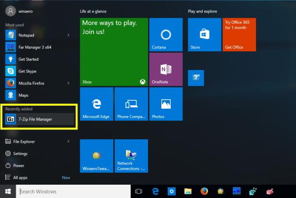 Windows 10 Start menu recently added