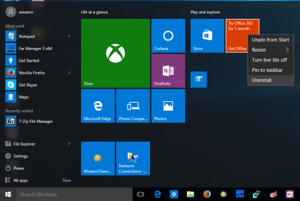 Windows 10 Start menu uninstall apps