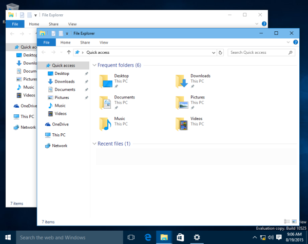 Windows 10 build 10525 colored title bars