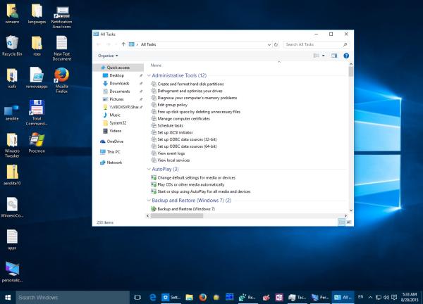 Windows 10 classic godmode