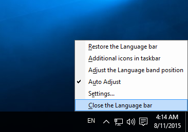 Windows 10 close the language bar
