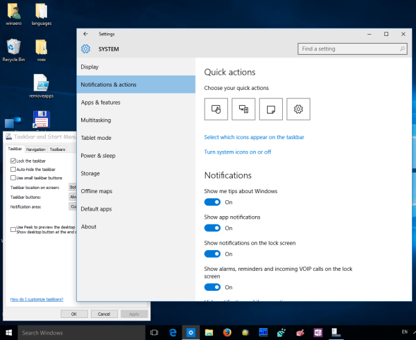 Classic Notification Area Tray Icon Options In Windows 10