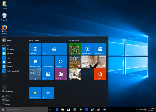 Windows 10 run is pinned