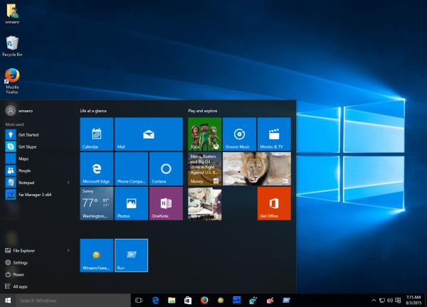 Windows 10 run is pinned