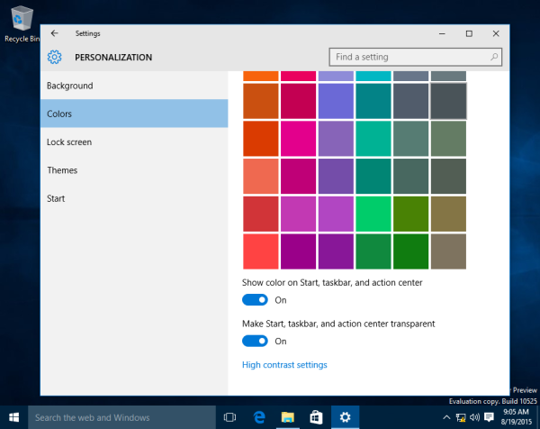 Windows 10 show color on start