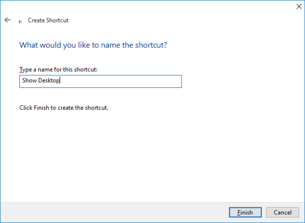 Windows 10 show desktop shortcut name