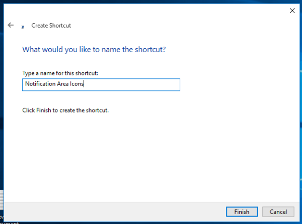 Windows 10 tray icons shortcut naming