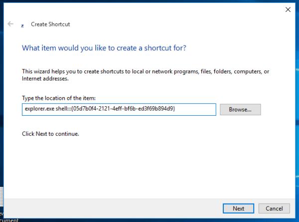 Windows 10 tray icons shortcut target