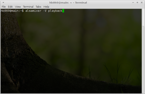 XFCE terminal app alsamixer