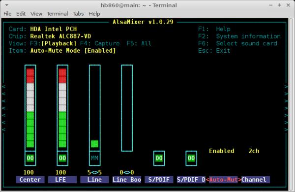 XFCE terminal app alsamixer auto-mute mode