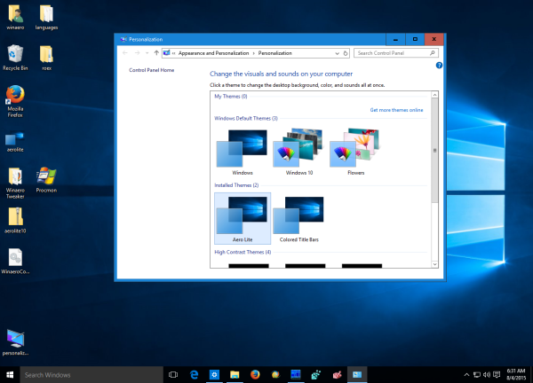 windows 10 aero lite