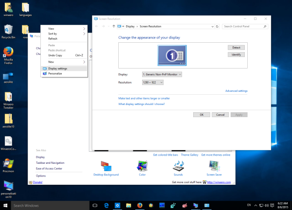 windows 10 classid display settings