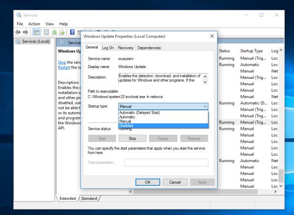 windows 10 disable windows update