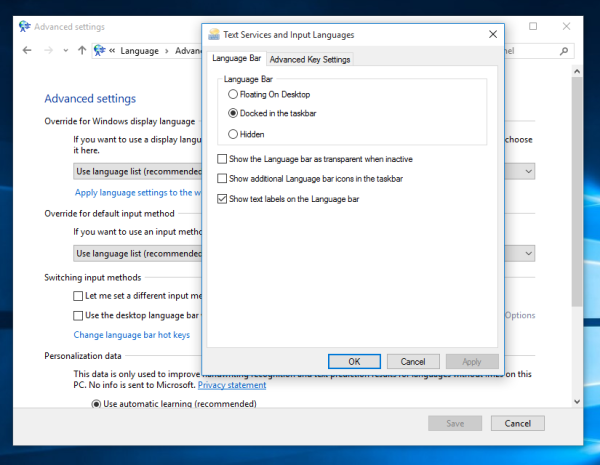windows 10 langauge bar options