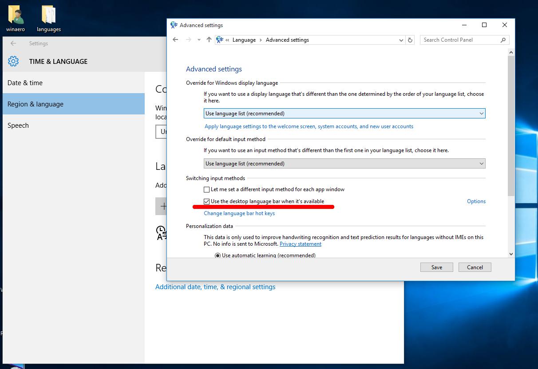 Windows 10 Old Layout Indicator And Language Bar